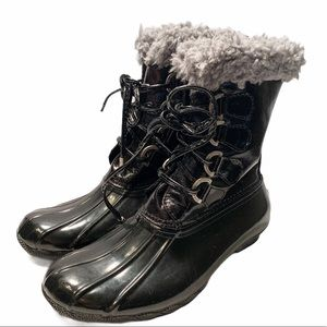 Sperry Black Gray Fur Sherpa Trim Snow Duck Boots